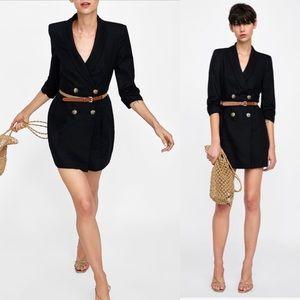 NEW Zara Linen-Cotton Belted Tuxedo Mini Dress